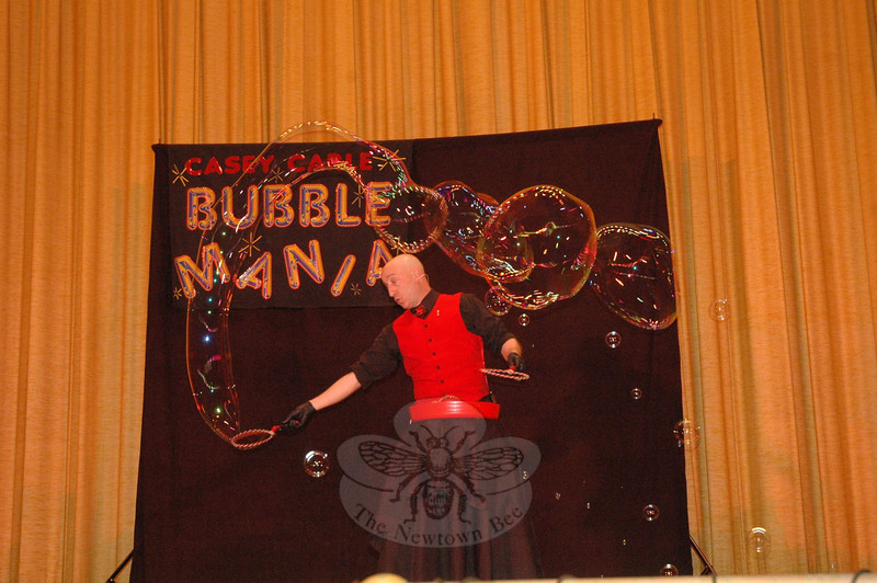 A performance of Casey Carle's BubbleMania was staged on Saturday, April 27, at Edmond Town Hall. The show combined visual comedy, quick wit, science, art, and humor. The performance, sponsored by the Newtown Junior Women's Club, was a fundraiser for the group and for Ben's Bells Newtown.  (Gorosko photo)