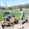 Volunteer Greg Fico guides bobcat driver Kyle Leonardi as he drops a tree in place. Mr Leonardi and Will Jacobs, right, with the Newtown Parks and Recreation Department, put trees in place the day before they were surrounded with top soil and watered in.  (Bobowick photo)