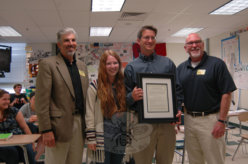 From left are Central Connecticut State University Professor of History Matt Warshauer, Newtown High School junior Sarah Clements, NHS social studies teacher David Foss, and Central Connecticut University Assistant Professor John Tully, who is also the president of the Connecticut Council for Social Studies, on Tuesday, May 7.   (Hallabeck photo)