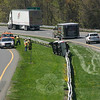 State police report that John Angelopoulos, 61, of Fishkill, N.Y., was driving a 2005 Ford F-series pickup truck on Interstate 84, west of the Old Hawleyville Road overpass, when he fell asleep at the wheel and then drifted onto the highway's median, after which the truck hit the median's guardrail and rolled over onto its right side at about 1:52 pm on May 3. Angelopoulos was not injured. Hawleyville volunteer firefighters and Newtown Volunteer Ambulance Corps members responded to the accident. State police said they verbally warned Angelopoulos for failure to drive in the established lane.     (Hicks photo)