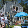 Volunteers worked at an Underhill Road home in Sandy Hook on Saturday, May 4, during the 25th Anniversary of HomeFront Day.   (Hallabeck photo)
