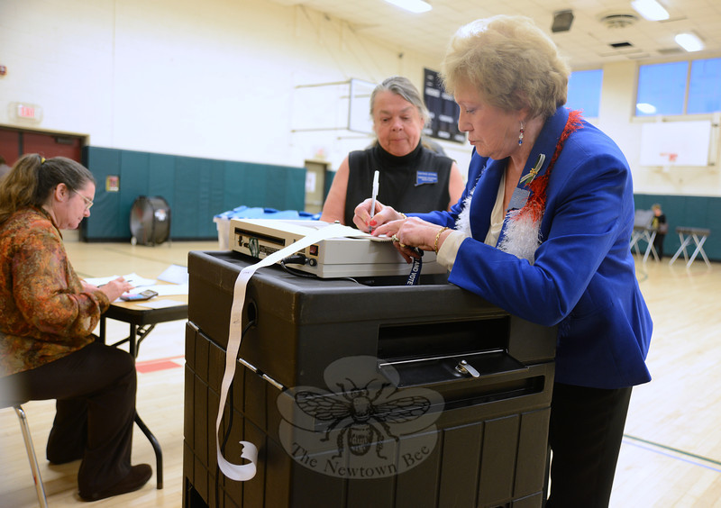 Linda Connor and Carol Mattegat review the voting machine tape after polls closed at 8 pm Tuesday evening.    (Bobowick photo)