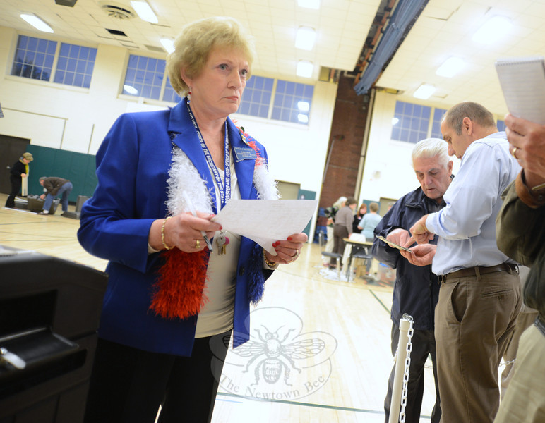 Assistant Registrar of Voting Carol Mattegat reads off the poll numbers shortly after 8 pm Tuesday, May 14, as officials, including Legislative Council President Jeff Capeci, far right, confirm the count with Police Commission Chairman Paul Mangiafico.    (Bobowick photo)