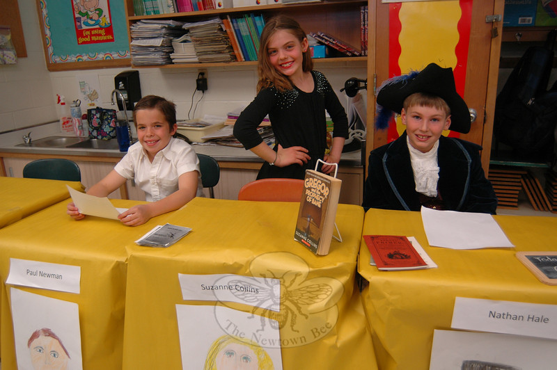 "Middle Gate Fourth grade students, from left, Matt Sortino, Courtney Henchcliffe, and William Hornby represented Paul Newman, Suzanne Collins, and Nathan Hale, respectively, during the Friday, May 3, presentation of the fourth grade Living Biographies project.  (Hallabeck photo)<br /> <br /> PLEASE NOTE: Additional photos from this event, which were presented online in a slideshow, can be viewed here: <a href=""http://newtownbee.smugmug.com/Journalism/Special-Events/Middle-Gate-Fourth-Graders/29586599_dFDHmG#!i=2530690622&k=nKzm7fx"">http://newtownbee.smugmug.com/Journalism/Special-Events/Middle-Gate-Fourth-Graders/29586599_dFDHmG#!i=2530690622&k=nKzm7fx</a>"