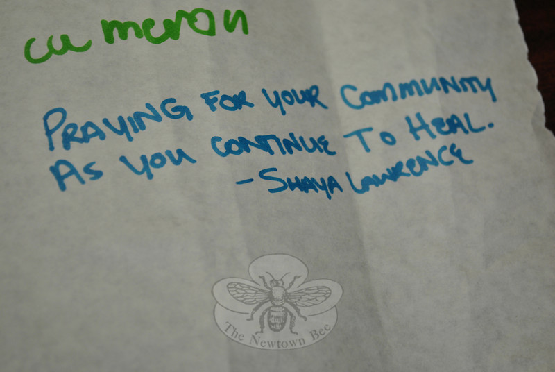 Missy's friend Shaya, of Columbine High School, has her message on the banner delivered this week to Newtown by Missy.   (Crevier photo)