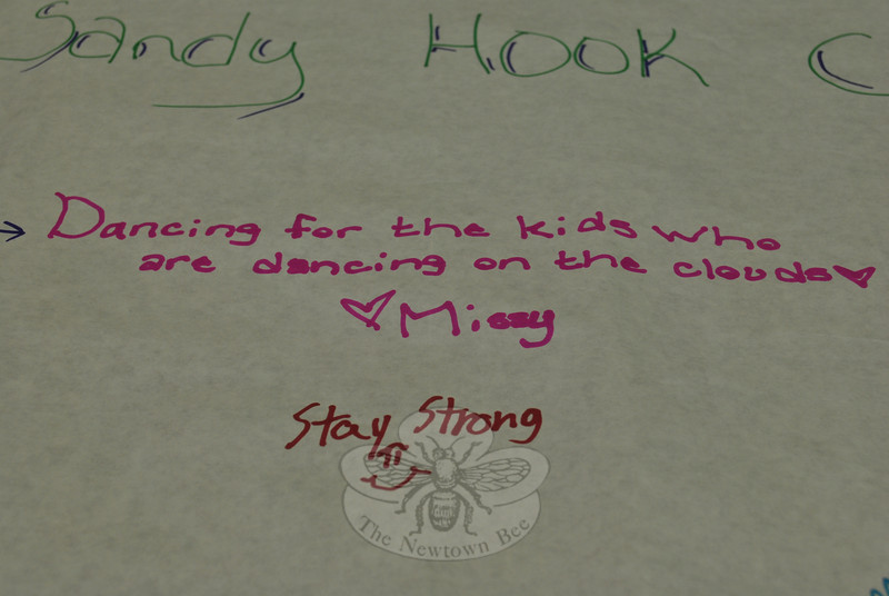 Missy's message of love and support is among the numerous signatures on the banner.   (Crevier photo)