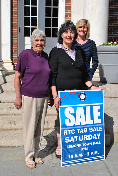 From left, Republican Town Committee members Marie Smith, Toni Catalina (co-chairman for fundraising), and Chris Girgasky (co-chairman) invite the public to a tag sale, Saturday, June 9, in the gymnasium of the Edmond Town Hall, from 10 am to 3 pm. Tables are still available to rent a space to sell goods that day, for $25 each, by contacting cgctusa@yahoo.com or by calling 203-364-0803. Set up is at 9 am. While private sellers keep all profits earned through sales that day, the money raised from the rental of space goes to support the Republican Town Committee. 	—Bee Photo, Crevier