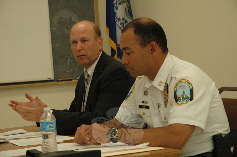 Police Chief Michael Kehoe, left, makes a point at a June 5 Police Commission meeting at which a group of Riverside residents complained about suspicious activity in their neighborhood. At right is police Captain Joe Rios.   —Bee Photo, Gorosko