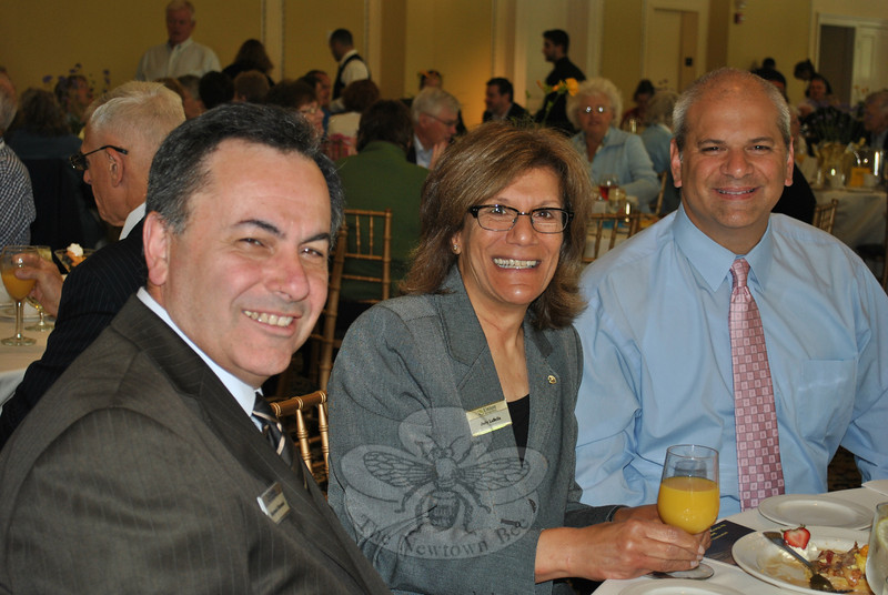 "From left, Ray Giovanni, Judy LaBella, and David Zavarelli join other Union Savings Bank employees at the June 6 annual Hospice Breakfast fundraiser. (Crevier photo)<br /> <br /> PLEASE NOTE: The full collection of photos that made up the slideshow that accompanied this story online can be found in a separate gallery, here: <a href=""http://photos.newtownbee.com/Journalism/Special-Events/Regional-Hospice-Home-Care-of/23502795_6FPV3X#!i=1899785110&k=C8CPjmq"">http://photos.newtownbee.com/Journalism/Special-Events/Regional-Hospice-Home-Care-of/23502795_6FPV3X#!i=1899785110&k=C8CPjmq</a>"