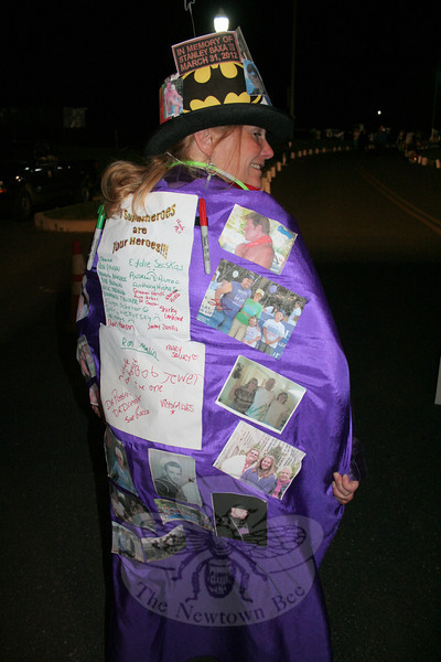 "Newtowner Kat Holick created a Relay For Life costume that included the names and photos of friends and family members who survived cancer as well as some who lost the fight. She also collected signatures from survivors attending Relay as she met them during the course of the evening.			—Bee Photo, Hicks<br /> <br /> PLEASE NOTE: The full collection of photos that made up the slideshow that accompanied this story online can be found in a separate gallery, here: <a href=""http://newtownbee.smugmug.com/Journalism/Special-Events/Relay-For-Life-2012/23520226_GnhFcF#!i=1901612363&k=2f3PfVZ"">http://newtownbee.smugmug.com/Journalism/Special-Events/Relay-For-Life-2012/23520226_GnhFcF#!i=1901612363&k=2f3PfVZ</a>"