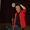 "Bubble expert Casey Carle shows off a nature-defying cubical bubble, filled with fog, Thursday, May 24, at a ""BubbleMania!"" presentation at Head O' Meadow School. ""A spherical bubble uses the least amount of surface. Nature doesn't use any more energy than necessary,"" he told the afternoon audience made up of preschoolers, kindergartners, and third and fourth grade students, just before he showed them how to fool Mother Nature. Mixing lots of science with lots of silliness, Mr Carle entertained with soap sculptures and explained how ""Science makes the impossible, possible,"" using bubbles and tools — from the classic bubble blower to the best tool of all — the hands. First and second grade students were treated to Mr Carle's science secrets during a morning show.     —Bee Photo, Crevier"