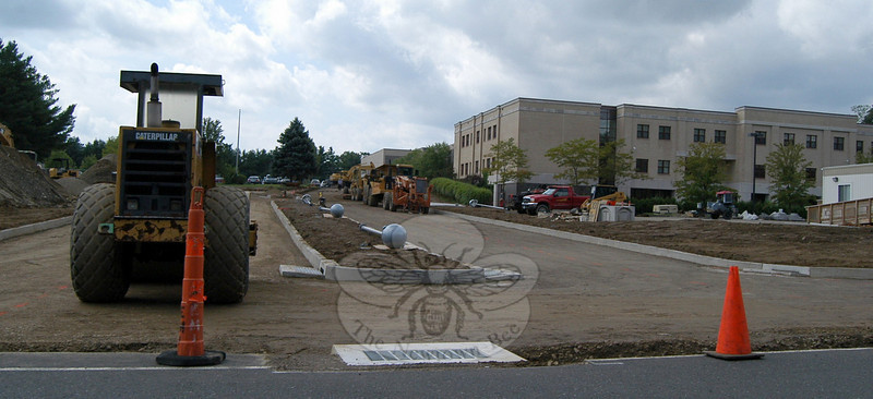 A view of the new entrance to Newtown High School on Thursday, August 26, which is just north of the former driveway's location.  (Hallabeck photo)