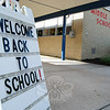 A sign outside Middle Gate Elementary School welcomed students to the 2010-11 school year.  (Hallabeck photo)