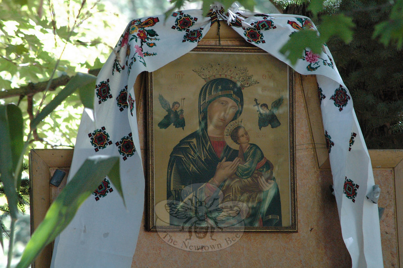 A stylized icon depicts the Virgin Mary with the infant Jesus.  (Gorosko photo)