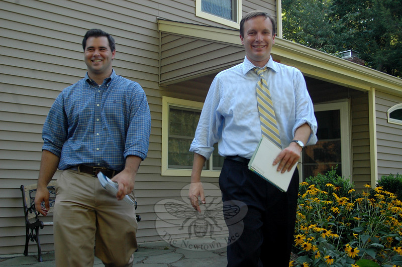 Newtown State Representative Chris Lyddy, left, and US Congressman Chris Murphy were out walking The Boulevard on Monday afternoon, August 30, chatting with residents about state and national issues. Both Democrats are hopeful their personalized style of campaigning will be successful as they pursue reelection to their respective offices this November.  (Voket photo)