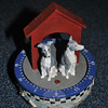 Replicas of Italian greyhounds sit on top of a kitchen timer marketed by dog and cat artist Jacqueline Adams.  (Crevier photo)