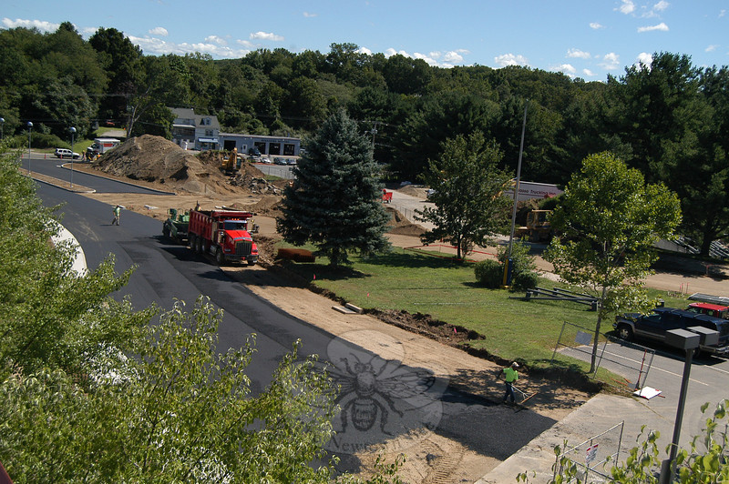 Work on the first layer of pavement for the new entrance at Newtown High School could be seen from a raised view on Friday, August 27.  (Hallabeck photo)