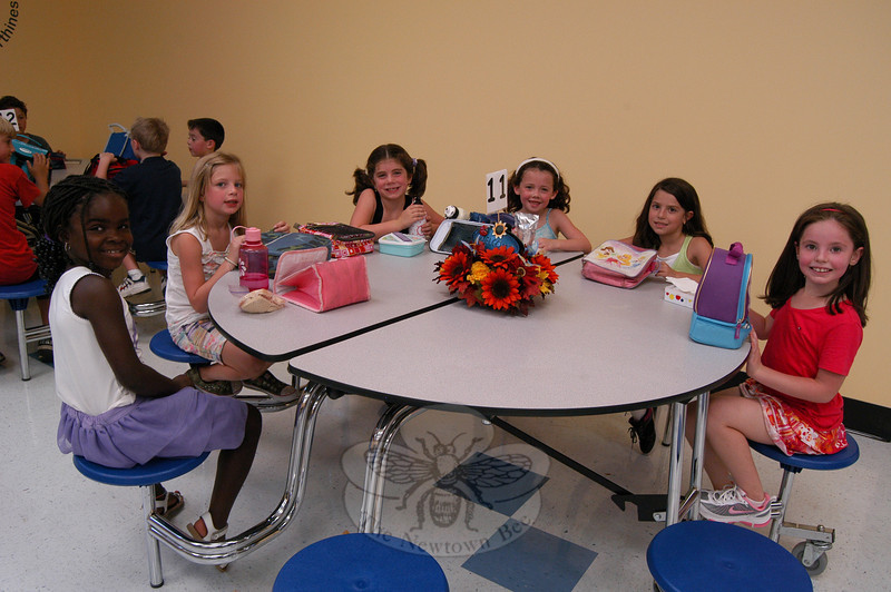 Hawley School students ate lunch in the new Mary Hawley Café for the first time.  (Hallabeck photo)