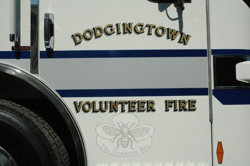 The passenger door on the new Rescue/Engine 221 for Dodgingtown volunteer firefighters.  (Gorosko photo)