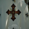 The religious vestments bear ornate symbols.  (Gorosko photo)