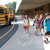 Head O' Meadow students walked off the bus for the start of school Wednesday.  (Hallabeck photo)