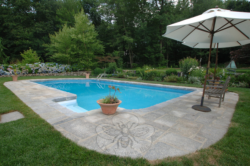 A beautiful pool garden encloses a private swimming area at the Holmes residence, which was one of the stops on the July 17 Newtown HIstorical Society House & Gargen Tour.  (Bobowick photo)