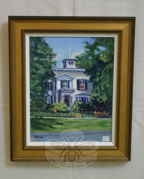 """""""Newtown Landmark"""" is one of two paintings by Karen Cashman included in """"Newtown Images, New England Charm,"""" currently on view at Newtown Municipal Center.  (Hicks photo)"""
