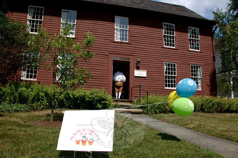 The Matthew Curtiss House at 44 Main Street was one of several stops during Newtown Historical Society's 15th Annual House and Garden Tour on Saturday, July 17.  (Bobowick photo)