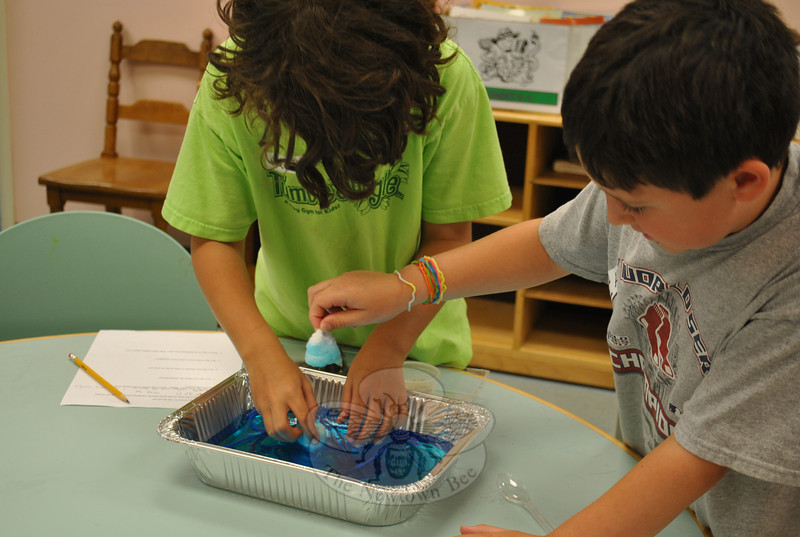 Harrison Hoffert, left, and Anthony Dorazio try using cotton balls to get the oil out of their mini ocean, an experiment they called more successful than using string to contain the spill.  (Crevier photo)