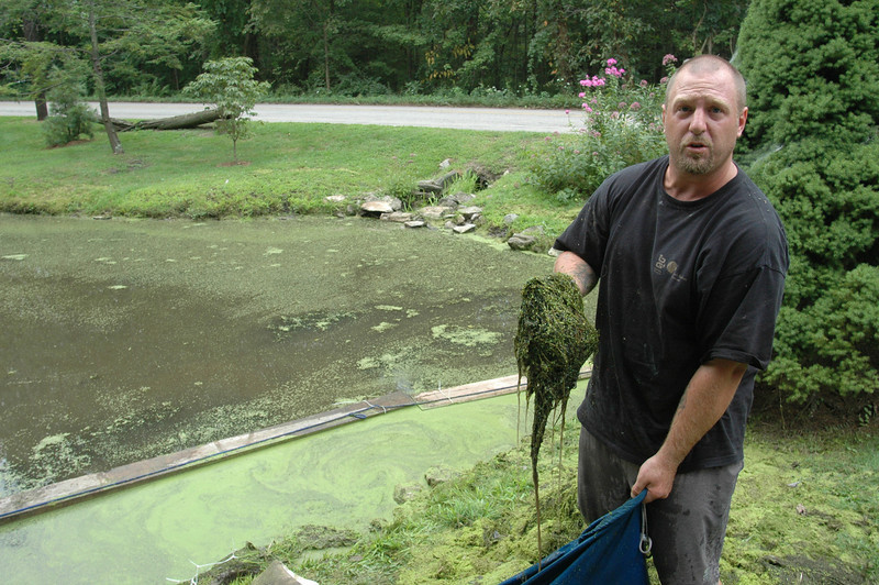 Environmental engineer and certified commercial diver Reggie McLellan, Jr, hefts a clump of weeds like the truckloads that he can remove from the basins of ponds and lakes every day. Newtowner Andrea Haas and Mr McLellan, who lives on neighboring Candlewood Lake, are partners in the locally based Aquamarine Environmental Solutions, LLC.  (Voket photo)