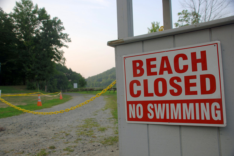 Eichler's Cove, Newtown's only public fresh water beach, will be closed at least through Friday according to the local Health District. With no substantial runoff or known failing septic systems in the area, health and wetland officials suspect a significant population of Canada Geese nesting in the area for the highest bacteria counts on record for the Parks & Recreation facility in Sandy Hook.  (Bobowick photo)