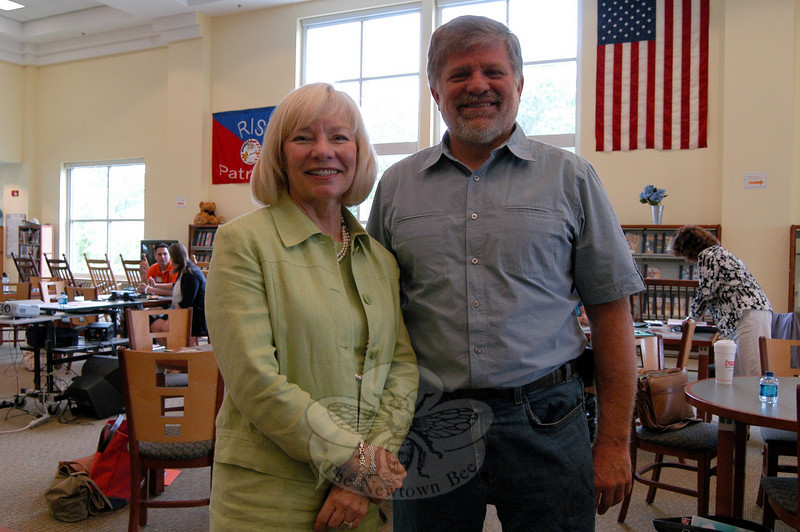 Superintendent of Schools Janet Robinson, left, and Board of Education Chairman William Hart stood together after greeting new Newtown Public Schools staff members during a morning orientation event on Monday, August 23.  (Hallabeck photo)