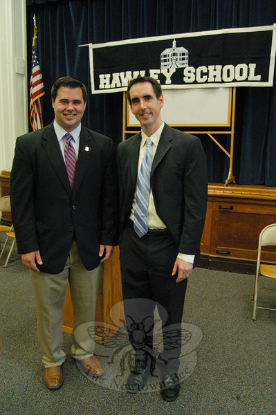 State Representative Christopher Lyddy, left, and CEO of Connecticut Coalition for Achievement Now Alex Johnston.  (Hallabeck photo)