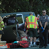 Police, Hawleyville firefighters, and ambulance staffers responded to a one-vehicle accident about 3:45 pm on August 20, on Hawleyville Road (Route 25), near its intersection with Covered Bridge Road. Police said motorist Michael R. Agius, 24, of 140 Hattertown Road was driving the 2003 Honda Element SUV that was involved in the accident. Police provided few details on the incident. The SUV apparently was traveling southward on Hawleyville Road, just south of its intersection with Covered Bridge Road, when the vehicle went off the right road shoulder for an unknown reason and collided with some steel guardcabling. Ambulance personnel transported Agius to Danbury Hospital to be checked for injuries. Police closed down through-traffic on the section of Hawleyville Road between its intersections with Mt Pleasant Road and Interstate 84 while they investigated the crash. The accident remains under investigation.  (Gorosko photo)