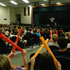 Teacher, performer and facilitator Jim Donovan gave a PTA-sponsored presentation for Newtown Middle School students on Friday, October 1. Mr Donovan, one of the founding members of the band Rusted Root, gave multiple presentations to students during the day, where he lead them in playing instruments.  (Hallabeck photo)