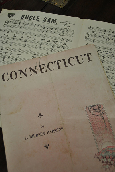 "Two of his original compositions, ""Connecticut"" and ""Uncle Sam,"" are among several works published by Birdsey Parsons that remain in the possession of his family. Known as an odd-ity about town, Birdsey Parsons is less well known as a composer of music. His daughter believes it is possible that the family fortune may have been gradually siphoned from her father by unscrupulous music publishers feeding on her father's hopes of ""making it big"" with his music compositions.  (Crevier photo)"