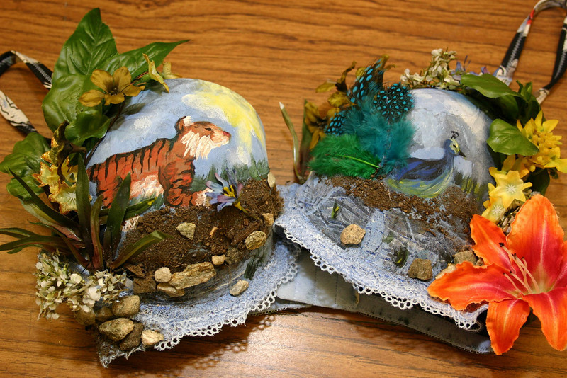 "A close look at ""Wild Thang,"" the Art Bra done by high school student Sara Hill, shows a painted tiger on one cup and a painted peacock on the other, surrounded by plants, stones and even dirt. ""These are little paintings, little works of art,"" said NHS art teacher Diane Dutchick. ""Each idea is supported by great detail.""  (Hicks photo)"