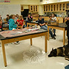 Newtown Police Officer Andrew Stinson and his canine partner Baro spoke to students in Karen Pierce and Laurie Borst's Crime Scene Investigators class, offered through Newtown Continuing Education's SMART summer program, on Friday, July 9.  (Hallabeck photo)
