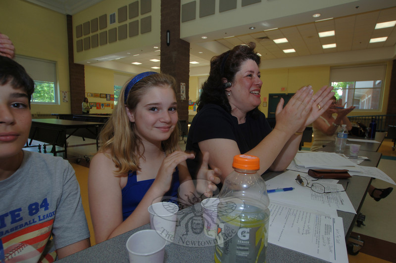 """Maria Randle sits with her mother, Donna Monteleone Randle, during the auditions for """"We've Got Talent."""" (Bobowick photo)"""