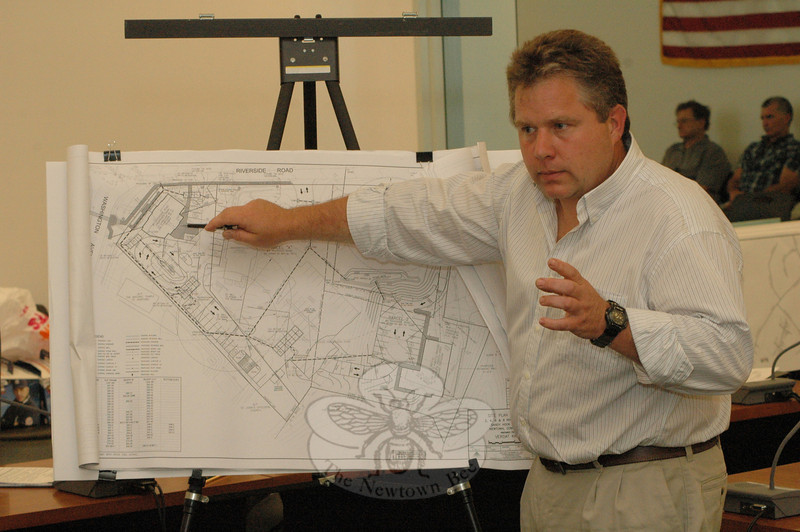 Surveyor Charles S. Spath, Jr, of Stuart Somers Company, LLC, of Southbury, explains at a June 3 Planning and Zoning Commission (P&Z) public hearing some aspects of a proposed commercial redevelopment project for Sandy Hook Center.  (Gorosko photo)