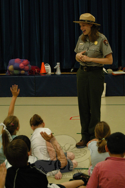 Weir Farm National Historic Site Park Ranger Emily Bryant visited students at Hawley Elementary School on Friday, June 4.  (Hallabeck photo)