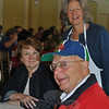 "Charlie and Wendy White, foreground and standing, were joined by friend Ursula Dolvio at the Hospice breakfast on Tuesday, June 8. The Whites, who are former Newtown residents, have sponsored a table at the annual event for many years, said Ms White, and added, ""I think Hospice is amazing.""  (Crevier photo)"