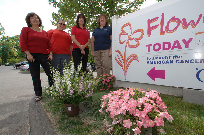 The Newtown Savings Bank Relay For Life team sold flowers on Friday, May 28, to raise funds for its efforts. With them that day were Tribury team members. From left are Sylvia Colombara, Cheryl Jablonowski, NSB team captain Dale Cuddy, and Tribury team captain Laura Cole.  (Bobowick photo)