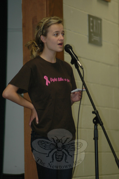Newtown's 2010 Relay For Life Chair Addie Sandler welcomed about 100 supporters and volunteers to a brief closing ceremony at the middle school June 10, after storms forced a premature end to the event the previous Saturday. Attendees were treated to a number of events, including live entertainment from singer Bianca Crudo.  (Voket photo)
