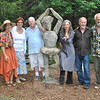 Sticks and Stones Farm owners Annie Stiefel, left, and Tim Currier, second from right, join Joanne and Mike White (next to Ms Stiefel), and Cynthia and Rick Quintanal (with Mr Currier), following the Memorial Walk to Honor, Remember, and Heal on Saturday, June 12. The Whites organized the walk at the Huntingtown Road moss farm site to honor those lost to addictions, and the Quintanals, of Crystal Cymbalogy, provided meditative music for the event. Nearly 40 people participated in the walk. (Crevier photo)