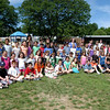 A record number of 70 students passed monthly geography tests at Sandy Hook School, which were overseen by PTA program co-chairs Azra Sholtes and Jakie Jensen. The PTA Geography Enrichment Program tests students on their knowledge of states, capitals, bodies of water in the United States, and international oceans, mountains, and more. Above all 70 students stand with Ms Sholtes, left, Ms Jensen, middle, and Sandy Hook School Donna Pagé on Tuesday, June 15.  (Hallabeck photo)