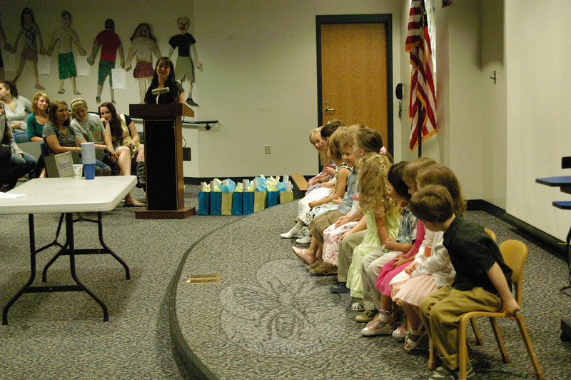 Newtown High School early childhood teacher Stephanie Gacso oversaw the graduation ceremony of the school's Nurtury students during a ceremony held in the school's Lecture Hall on Wednesday, June 9. Ms Gacso thanked each student for a special reason, and said good luck to those entering kindergarten next year.  (Hallabeck photo)