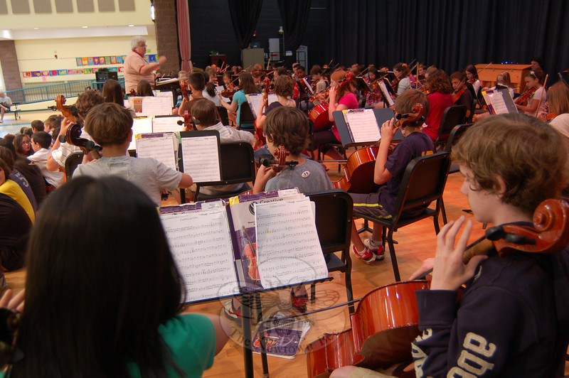 On Tuesday, June 1, the Reed Intermediate School cafetorium was full of music when the sixth grade band, orchestra (seen here in part), and chorus performed pieces in a round-robin fashion during first period at the school. Fifth grade students performed during second period at the school.  (Hallabeck photo)
