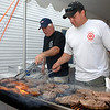 George Lockwood Jr and Matt Dobson covered the grill for a while on Satuday night during Sandy Hook Fire & Rescue's 23rd annual Lobsterfest.  (Bobowick photo)