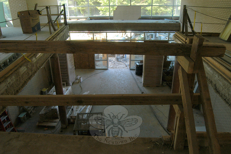 From the second floor, the new south entrance to Newtown High School was taking shape on Friday, July 2.  (Hallabeck photo)